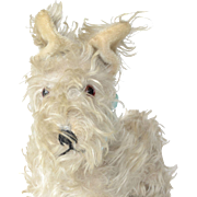 SALE White mohair stuffed soft toy dog, German or French, 1930 c.