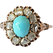 SALE Turquoise and rose cut antique diamond set cluster ring mounted in gold ( 14 ct ...