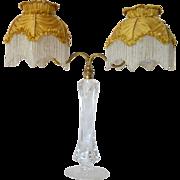 SALE An original Samuel Clarke ' Cricklite' candle lamp ( with original shades ),  1900c.