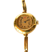 SALE Ladies vintage gold plated wristwatch with gilt link bracelet, watch unsigned but made in