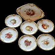 SALE K.P.M. fruit bowl and six plates, 19th century.