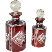 SALE Pair Crystal Scent Bottles, circa 1900, ruby red cut to clear