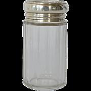 SALE Dresser Jar,clear glass, silver lid, 1904.