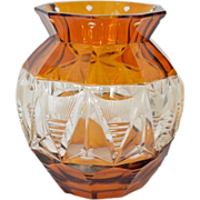 SALE Bohemian amber overlay cut glass clear vase - 20th century.