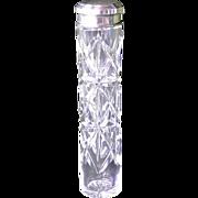 SALE Cut glass silver ( 835 ) lidded dresser jar, German, early 1900s.