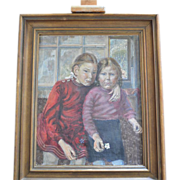 "SALE Portrait of two young girls ( "" Schwestern "" ), Oil on canvas,  European, 1948."
