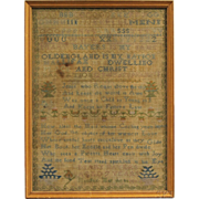 SALE Antique Schoolgirl Sampler, Mary Bayers, Nova Scotia, 1807
