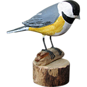 SOLD Miniature Carved Chickadee - Signed