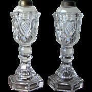 Pair of Antique Boston & Sandwich Glass Whale Oil Lamps