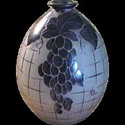 SALE Cameo Glass Vase with Grape Design