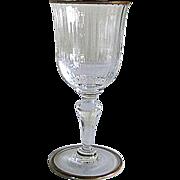 Six Venetian Glass – White Wine Glasses – Gilded Rims