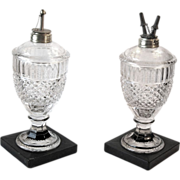 Pair of 19th Century Pressed Glass Fluid Lamps