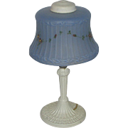 Art Deco White Painted Boudoir Lamp w/ Blue Shade