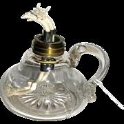 SALE Large Pressed Glass Fluid Finger Lamp