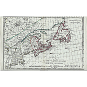 1787 Map of Northwestern Canada by Rigobert Bonne