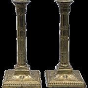 Pair of Antique Century Brass Candlesticks in Adam form