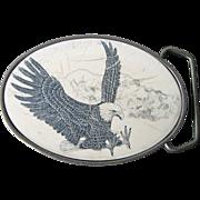 Vintage Brass & Scrimshaw Eagle Belt Buckle