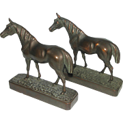 "Pair of Vintage 8 "" Bronze Clad Horse Bookends"