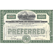 Vintage Pittsburgh, Fort Wayne & Chicago RR Stock Certificate