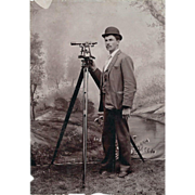 REDUCED Antique Cabinet Card of a Land Surveyor Studio Photo - CA 1890 – Waverly, Iowa