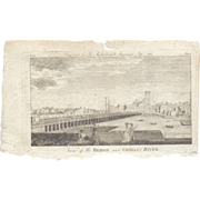 "1789 Engraving of ""View of the Bridge over Charles River"", Boston"