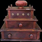 Antique American Mahogany Sewing Box – 1851