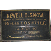 REDUCED Antique Wooden Sign, Newell B. Snow, C.E.