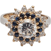 lady's  sterling CZ and sapphire ring