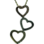 Lady's 10K gold diamond tri-color 3-heart pendant and chain