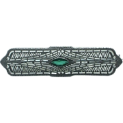 Lady's 10K white gold  imitation emerald filigree pin
