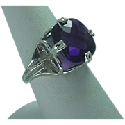 Lady's sterling vintage  cushion cut square  deep violet amethyst ring