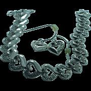 Lady's sterling  heart bracelet and earring set