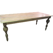 """SOLD Country French FARM Primitive Rustic Natural Grey finish Dining Table 80"""" Long"""