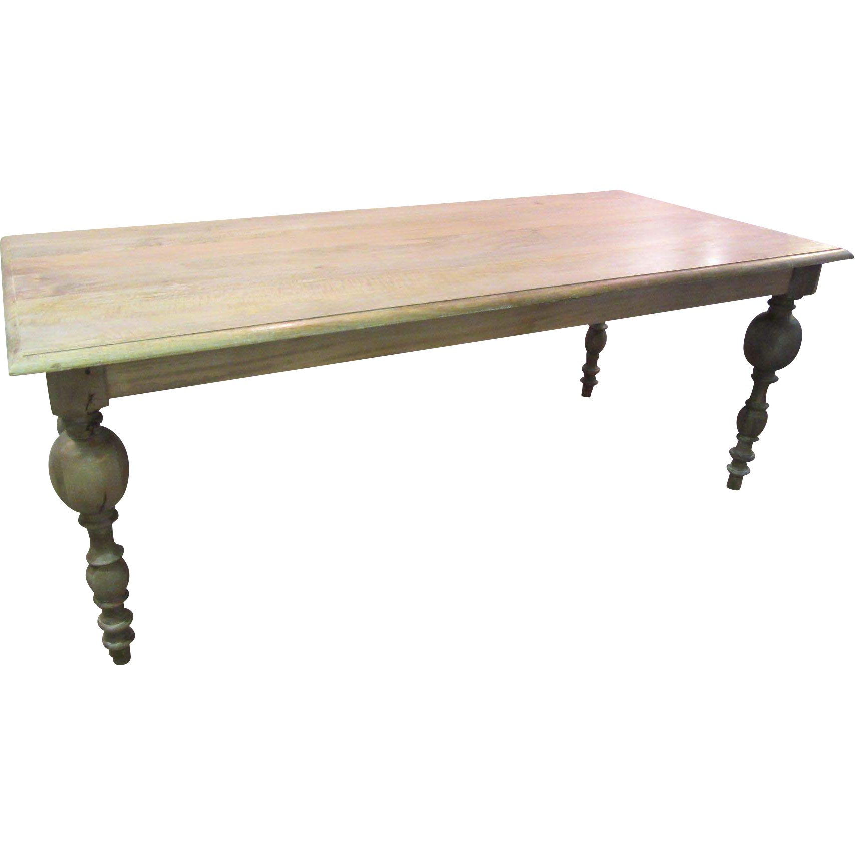 French FARM Primitive Rustic Natural Grey Finish Dining Table 80 Long
