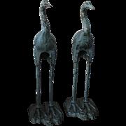 SOLD Pair of Matching Cast Iron Garden Crane Statues