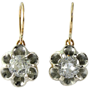 1.09 carat Antique Georgian diamond earrings. Old mine 14 karat gold dangling drop. circa ...