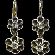Antique Georgian diamonds, silver, 14 karat gold dangling drop earrings, circa 1850.