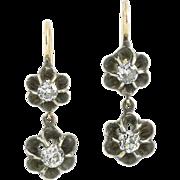 1.25 carat old mine , European Antique diamonds, silver, 14 karat gold earrings, Georgian circ