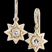 1.60 carats Old mine diamonds, 18 karat gold star earrings. By David J. Thomas