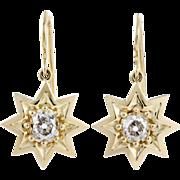 1.50 carats Old mine cut diamonds, 18 karat gold star earrings. By David J ...