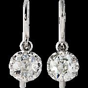 1.20 carats Old mine cut diamonds, platinum dangling earrings. By David J. Thomas