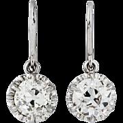 1.70 carats Old mine cut diamonds, platinum earrings. Dangling. By David J. Thomas