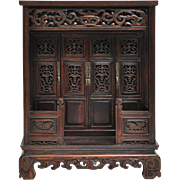Antique Chinese Miniature Architectural Shrine