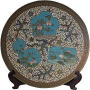 19 Century Early Meiji Japanese Cloisonne Enamel Charger