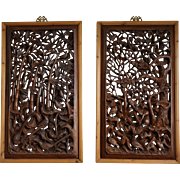 Two Chinese Wood Panels - Stylized Bamboo and Pine Trees