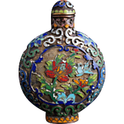 VIntage Champleve Snuff Bottle with Four Character Qianlong Mark