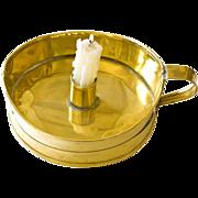 19TH C English Brass Boat Shaped Chamber Candlestick