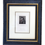 19th C Framed Engraving by R Hicks of Sir Thomas More after Holbein