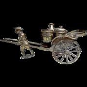 Chinese export sterling silver Rickshaw carriage cruet set salt pepper shakers set