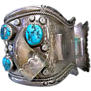 Vintage old pawn Indian Navajo feather sterling turquoise nugget bear claw cuff watch band ...